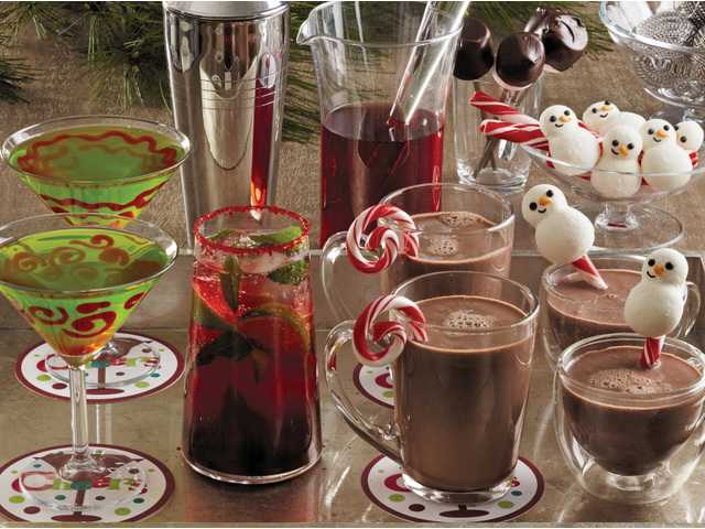 All aglow melon-tinis, cheery cranberry mojitos and peppermint blitz hot chocolate.