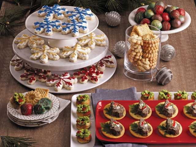 Snowflake shortbread cut-outs, mint chocolate chip truffles, chocolate raspberry chip truffles, parmesan pepper spritz crackers, merry mushroom bites and savory southwest donuts