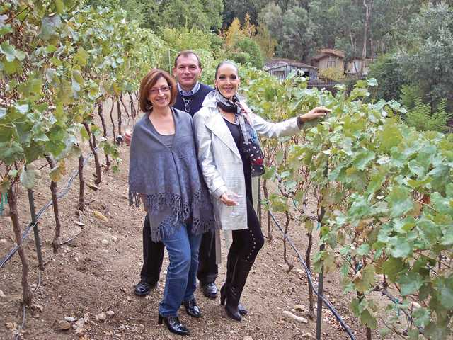 Left to right, Jo Ann Vindigni, Chris Aldieri and Shelley Hann in the vineyard of Compa Winery in Newhall.