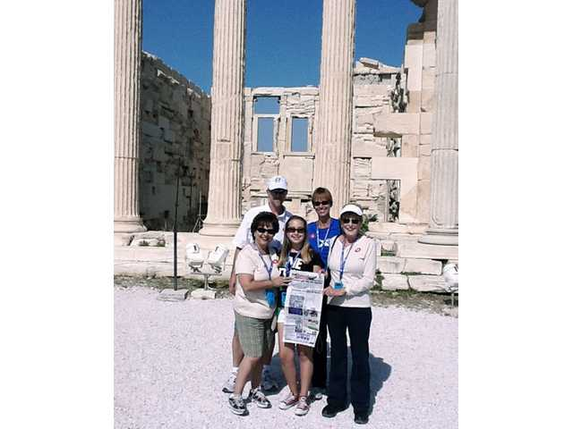 Kayla Garber photographed this photo of her family and friends at The Erechtheum at the Acropolis in Athens, Greece, in June. Back row: Edward Garber, Monica Garber. Front row: Lisa Black, Emily Black and Ellen Yeager.