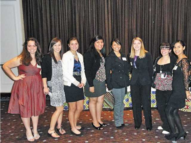Members of the Human Rights Watch Student Task Force pose at their annual dinner in November. From left to right: Audrey Abergel of Valencia High, Taylor James of Hart High, Abby Gunning of Hart High, Sindy Alacorn of Canyon High, Christina Vera of Canyon High, Jenna Shelton of Valencia High, Gayne Kalustian of Hart High, and Yirzely Villanovoa of Canyon High.
