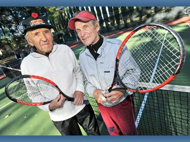 Ed Jace, 90, and Thor Jorgensen, 88, regularly play tennis together. They recently celebrated their birthdays with the Newhall Tennis Club.