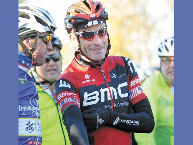 World champion rider George Hincapie joins hundreds of riders at the start of the inaugural A Ride For Life bicycle event held at Central Park in Saugus on Dec. 31.