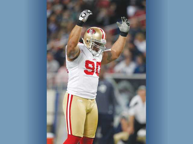 San Francisco 49ers defensive tackle Isaac Sopoaga will add his name to the short list of former College of the Canyons players to appear in NFC Championship games. The eight-year pro has 31 tackles this year in 16 starts, including playoffs.