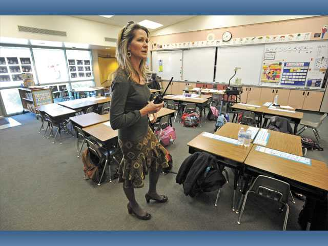 Principal Diane Miscione speaks in a classroom at Helmers Elementary School in Valencia on Wednesday, as she and Saugus Union School District Superintendent Joan Lucid discussed the need for modernization of campus facilities.