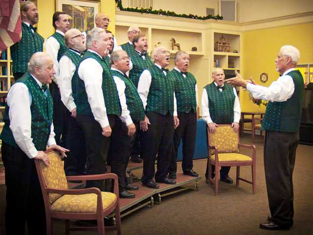 The Men of Harmony barbershop quartet singers perform during the holidays. The group is offering Sweetheard Serenades on Feb. 13-14.