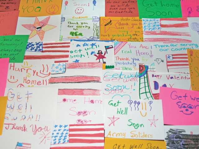 Kids made more than 100 get-well cards for veterans.