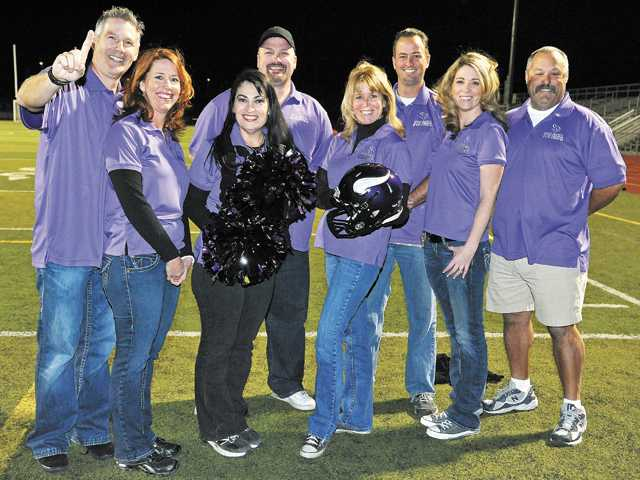 The leadership team of the new Santa Clarita Vikings youth football and cheer program. Registration begins Monday for the team. Back row, from left: Member at large Rett Hicks, Assistant Equipment Manager Derik Hixon, Treasurer Bill Velek, and President Joe Tafoya. Front row, from left: team manager Julie Bretthauer, Cheer Director Jeanette Davalos, Athletic Director Annette Heinrich and Secretary Joy Laibl.