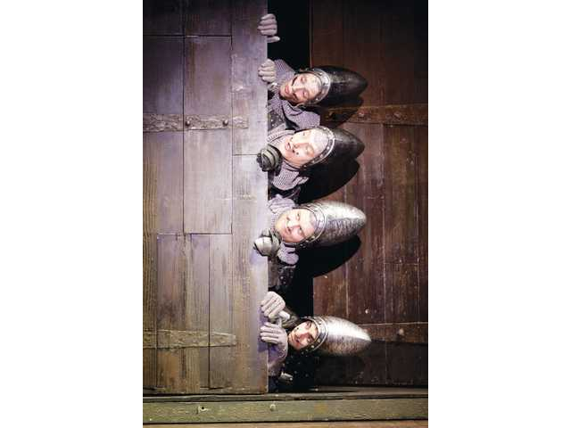 "Ryan Cowles, Joe Beuerlein, Adam Grabau and Jason Elliott Brown in ""Spamalot."" The musical version of Monty Python's hit film ""Monty Python and the Holy Grail"" will play at the Pantages Theatre in Hollywood for a limited one-week engagement, Feb. 28 - March 4. Tickets are available at www.broadwayLA.org."