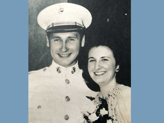 August 1945 wedding photo of Tom Johnson and Margaret Wolff. Margaret died almost a decade ago. Johnson is 93.
