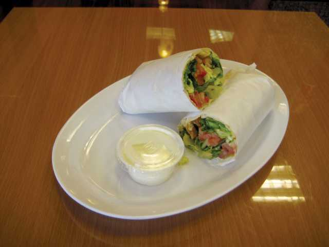 Chicken Wrap and garlic sauce.