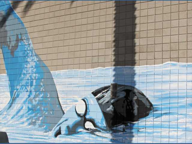 """The Final Lap,"" a mural by artist Bob Hernandez, at Santa Clarita Aquatic Center, in 2010."