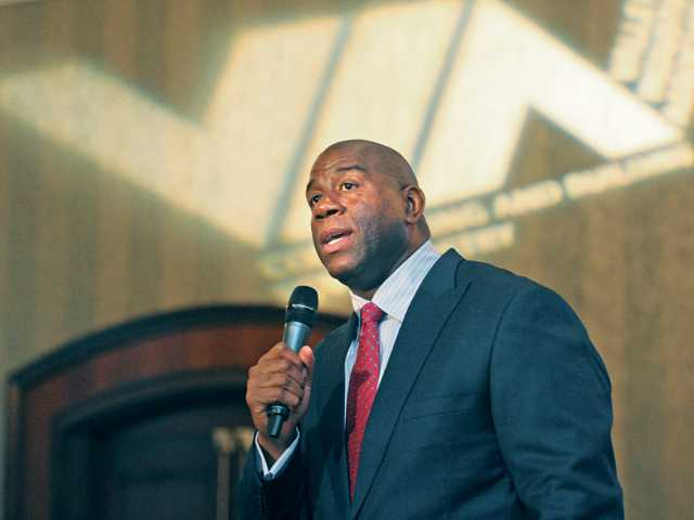 "Earvin ""Magic"" Johnson speaks at the VIA B2B 2012 Industry Show luncheon meeting, held at the Hyatt Regency Valencia on Thursday afternoon."
