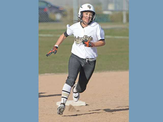 Golden Valley's Erica Esparza rounds second base after hitting an RBI triple against Vasquez High  at Golden Valley High on Wednesday.