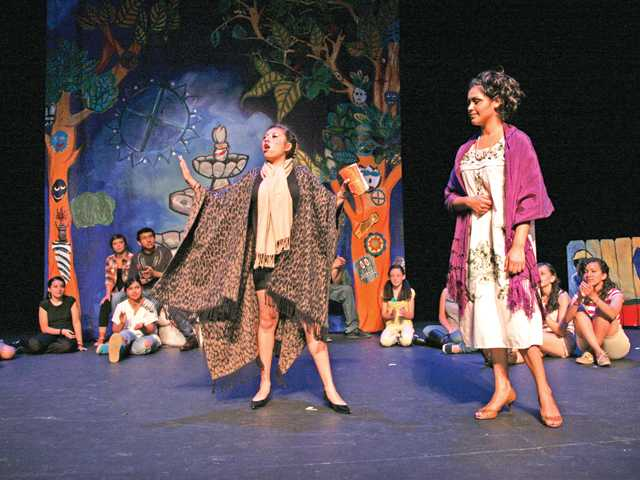 CAP middle and high school theater students perform in an original play by playwright Nancy de los Santos in Plaza de la Raza's Margo Albert Theater in East Los Angeles.