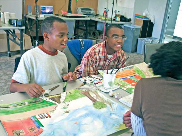 CAP students Stephen and Daniel Curtiss working on their background paintings for their animated film as part of the CalArts Community Arts Partnership (CAP) after-school Sony Pictures Media Arts Program at the Watts Towers Arts Center in Watts.  The Watts Towers Arts Center is one of the first community partners with the 22-year old CAP program.