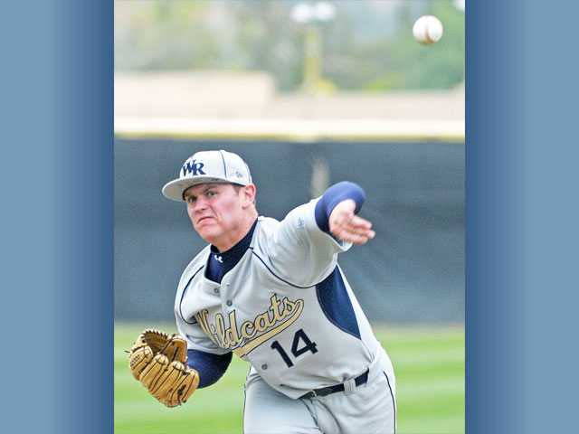 West Ranch pitcher J.C. Cloney delivers against Valencia during Friday's game at Valencia High School. Cloney threw a complete-game three-hitter and tied a career high by striking out 11 Viking hitters.