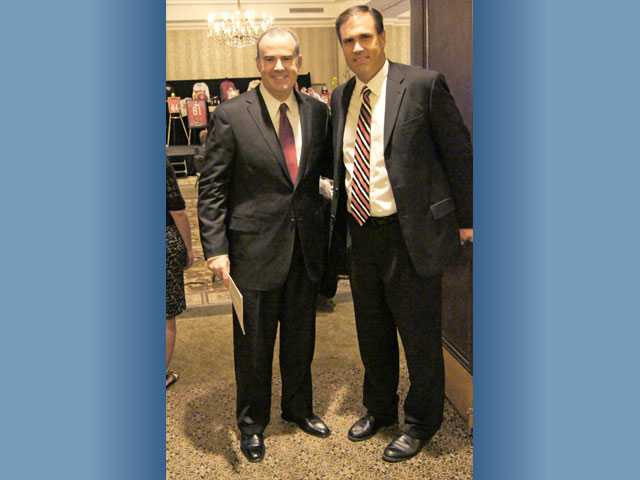 Actor/director and bestselling author Alex Kendrick and Santa Clarita Christian School Principal Derek Swales during the private school's recent 30-year celebration at Hyatt Regency Valencia.