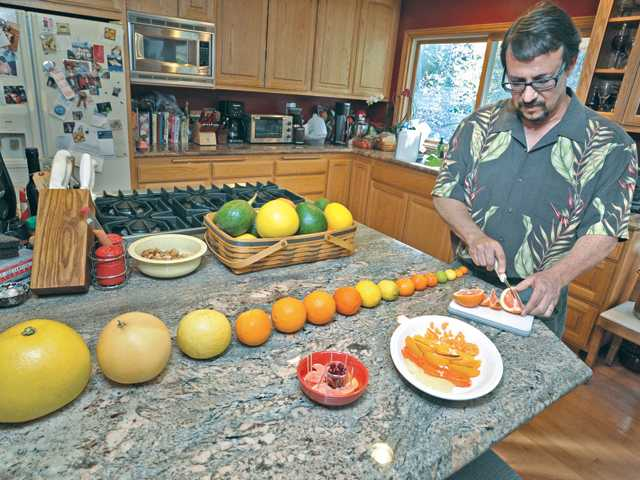 Fruits grown in Tony Stewart's garden, pomelo, ruby red grapefruit, oro blanco grapefruit, Valencia navel orange, cara cara navel orange, blood orange, tangelo, Meyer lemon, Bearss lime, three types of Mandarin orange, Mexican lime, limequat, cumquat and a Kishu mini Mandarin.