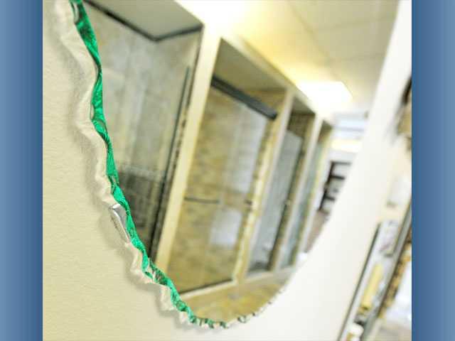 A chipped-edge mirror.