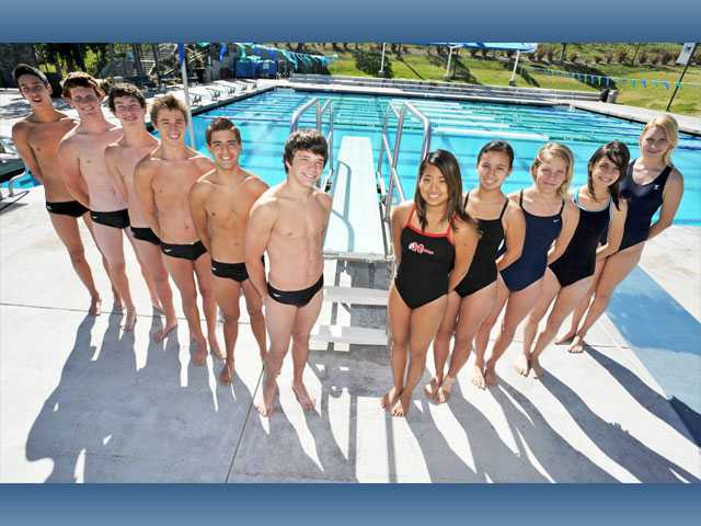 Members of the Foothill League diving team (left to right): Connor Ferris (Canyon), Derek Rider (Valencia), Logan Ferris (Canyon), Drake Nelson (Golden Valley), Carlos De Rada (Golden Valley), Carter Hardin (Valencia), Anna Bidolli (Hart), Julianna Burdette (Canyon), Emma Simmonds (West Ranch), Samantha White (Saugus), Peighton Hall (West Ranch). Not pictured: Cameron Hassan (Saugus), Kiley Fitzgerald (Valencia), Nadia Tseng (Hart) and Katie Waschak (Saugus).