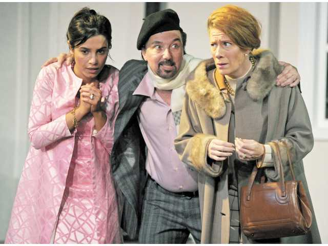 "Bella Popa (Corie Bratter), George Cummings (Victor Velasco) and Nancy Lantis (Ethel Banks) in ""Barefoot in the Park."""