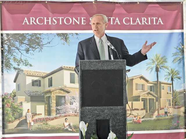 Archstone Executive Vice President Richard Lamprecht speaks to the attendees during the groundbreaking ceremony of the Archstone Rental Townhome Development in Santa Clarita on Thursday. Officials said the first units will be available in spring 2013.