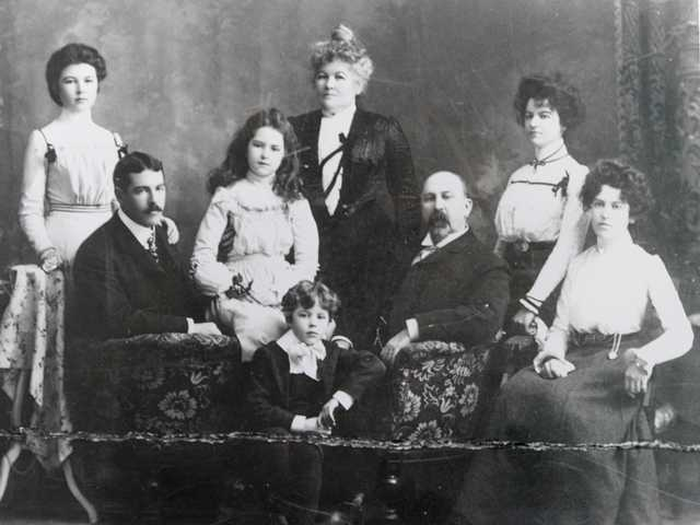 The Fortune family, left to right, Ethel, Robert, Alice, Charles, Mary, Mark,  Clara and Mabel.