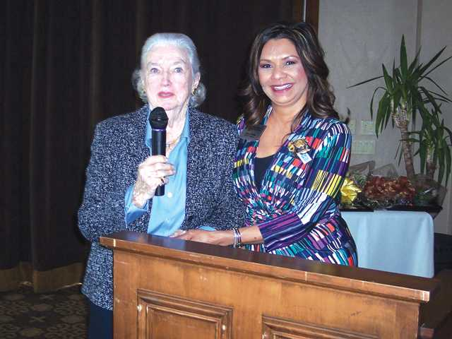 Jacquie Petersen and Dora Zavala at awards luncheon.