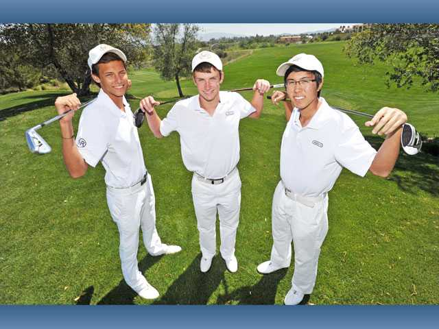 From left, West Ranch golfers Brandon Dooley, Joey Downey and Isaac Kim have moved into the top three scoring spots for the team this season. The three of them are being counted on in the team's quest for a fifth consecutive Foothill League title for the school.