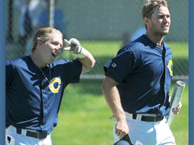 College of the Canyons outfielder James Bonds, left, and first baseman Jake Jelmini celebrate after Bonds hit a two-run home run in the third inning against Citrus on Tuesday at COC.