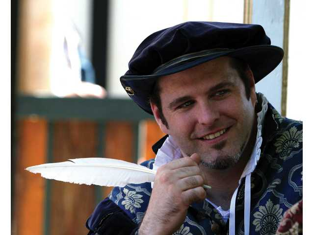 A Renaissance writer takes quill in hand at the Pleasure Faire — which continues through May 20.