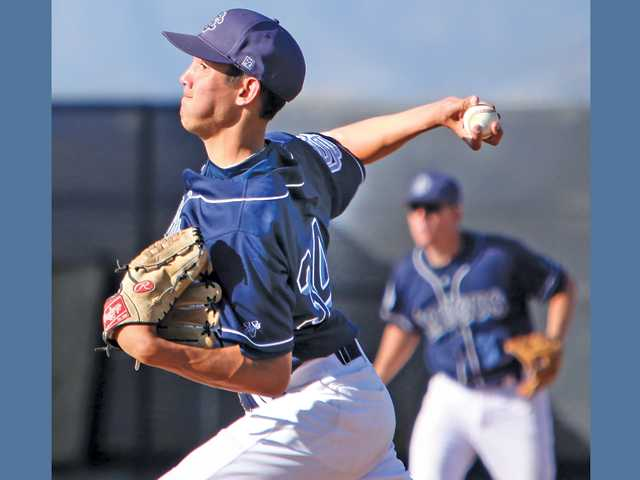 Saugus pitcher Chad Bennett delivers against Golden Valley on Friday at Golden Valley High School. Bennett pitched 4 2/3 innings, allowing two hits and striking out three.