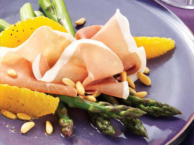 Asparagus, Orange and Prosciutto di San Daniele Salad