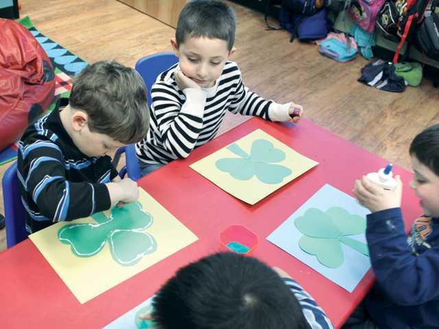 Students enjoy an art enrichment class.