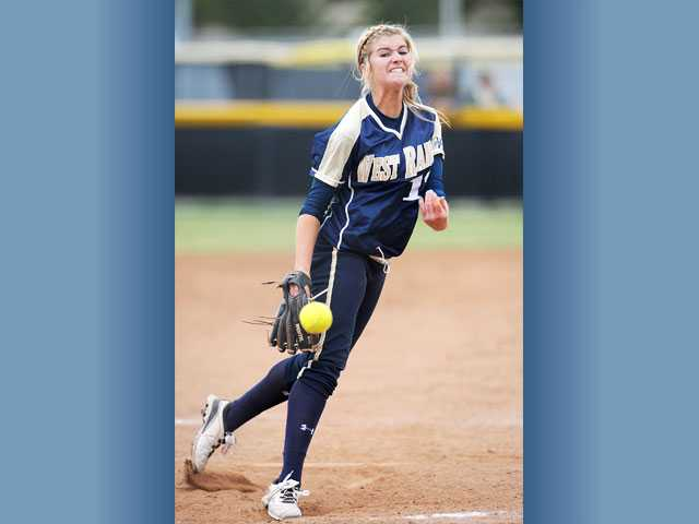 West Ranch's Bailey Foster pitches against Valencia on Thursday at Valencia High. The Wildcats won 4-0.