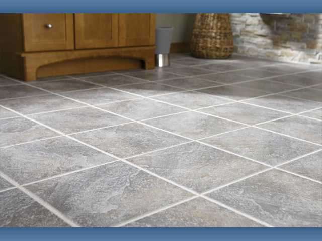 Attractive floor tiles in this home are installed in a straight and simple Jack-on-Jack pattern.