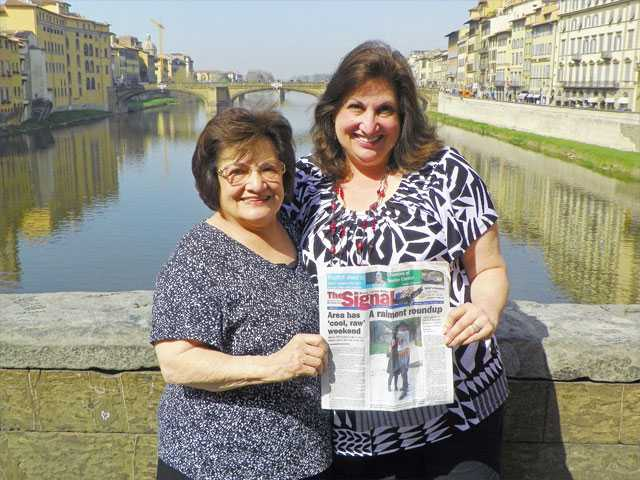 Darlene D'Amico, right, of Newhall, and her mother Virginia D'Amico, stop on the Ponte Vecchio in Florence, Italy, in March.