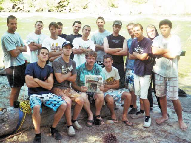 Castaic Varsity Boy Scout Troop 491 sponsored by the Church of Jesus Christ of Latter-day Saints recently spent two days white water river rafting the Class 4 and 5 rapids of the Tuolomne River outside of Yosemite. First row: Tyler Cordero, Kyle Johnson, Dave Huffaker, Clint Gingrich, Dylan Grant and Wyatt Allan. Second row: Craig Johnson, Dakota Miller, Steve Gingrich, Dallas Hattox, Andrew Aitchison, Kodey Johnson, Alex Ford, Richard Huffaker, Matt Higham, and Spencer Higham.