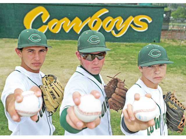 Canyon pitchers (from left) Chris Serrano, Justin Stark and Max Weinstein have gained experience this year and flashed great potential. Next season, the Cowboys could have the best pitching staff in the Foothill League — and reach the CIF-Southern Section postseason.