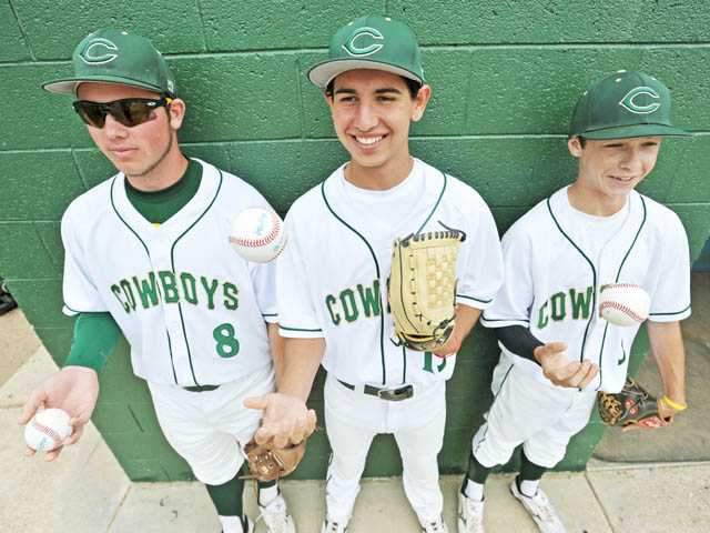 Pitchers (from left) Justin Stark, Chris Serrano and Max Weinstein are ready to change the culture at Canyon.