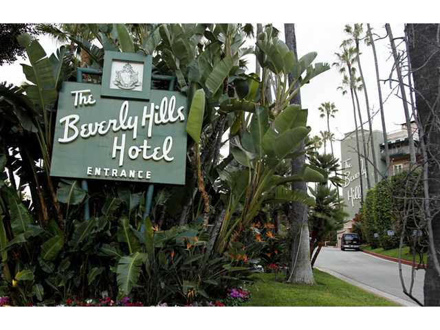 In this April 25 photo, the entrance to the Beverly Hills Hotel is seen in Beverly Hills. The Beverly Hills Hotel is celebrating its 100th anniversary this year.