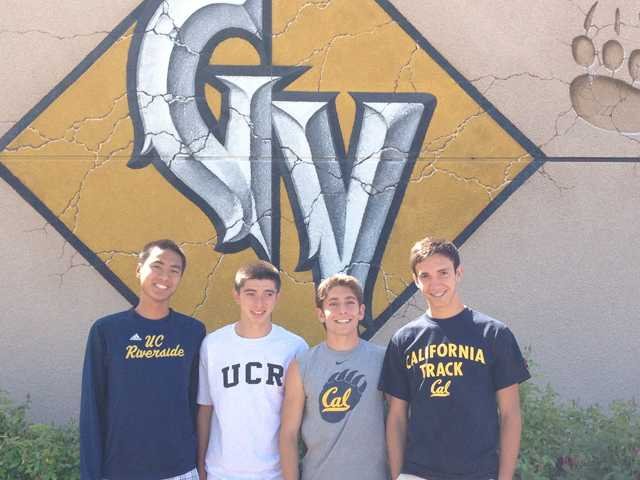 (From left) Golden Valley senior runners Aaron Nguyen, Carlos Lopez, Kristian Martinez and Juan David Garcia announced their college decisions on Tuesday at Golden Valley High School. Martinez and Garcia will attend the University of California, Berkeley, while Nguyen and Lopez will attend UC Riverside.