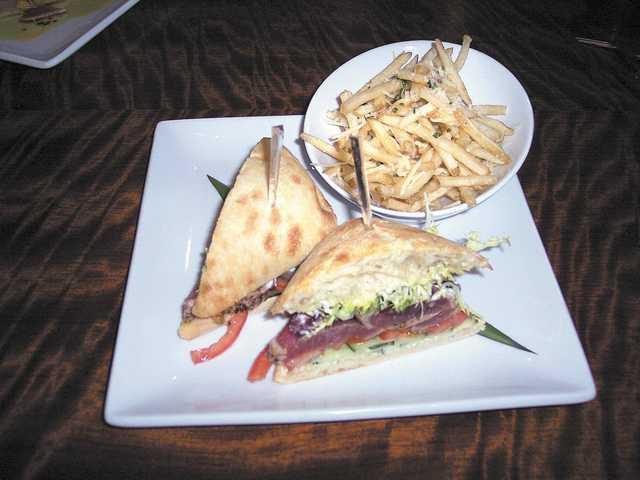 Seared yellowfin tuna panini ($12) on the lunch menu at Sake.