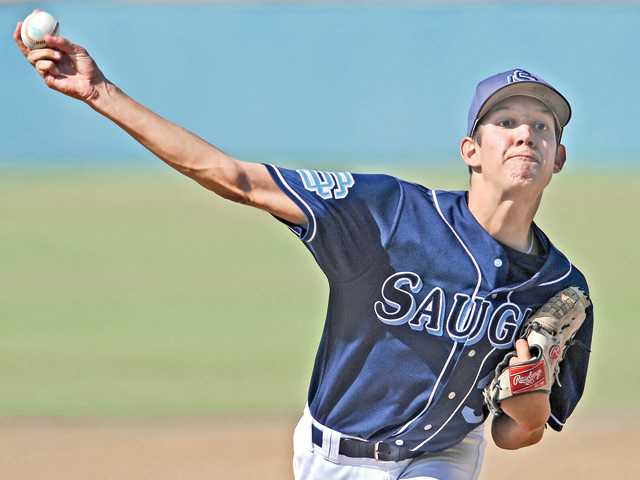 Saugus starting pitcher Chad Bennett delivers against West Ranch on Thursday at West Ranch High School. The Centurions won 2-1.