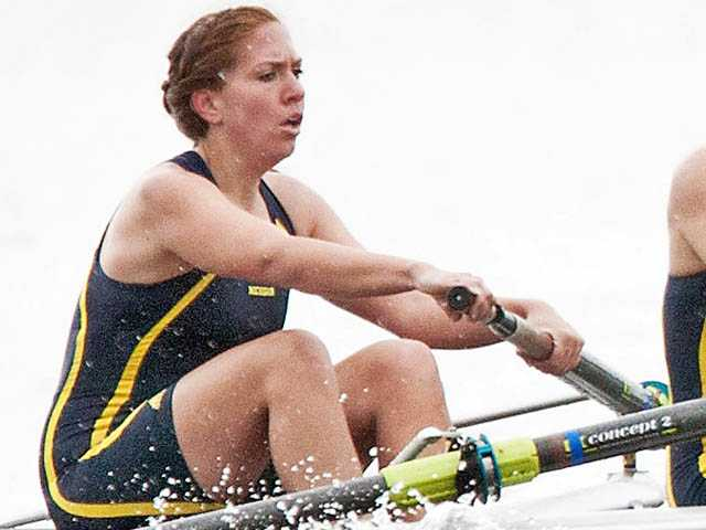 University of Michigan sophomore and Saugus High graduate Taylor Schubert competes with the Second Varsity Eight boat at an event at Belleville Lake, Mich. on April 14.