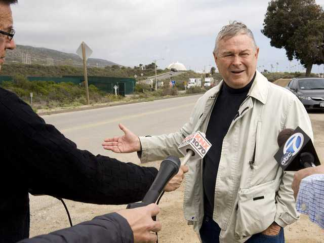 Congressman Dana Rohrabacher speaks to media after he toured the San Onofre Nuclear Generating Station on  May 3. Rohrabacher urged a moratorium on building any new light water reactors, preferring new technologies that cold be fueled by existing nuclear waste.