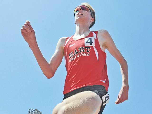 Hart's Austin O'Neil runs in the boys 1,600 during the CIF-Southern Section track finals at Mt. San Antonio College on Saturday.