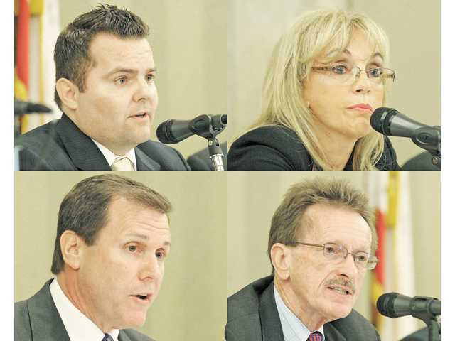 Clockwise from top left: 38th District Assembly candidates Edward Headington, Patricia McKeon, Paul Strickland and Scott Wilk in a forum May 7 at the Hyatt Regency Valencia.