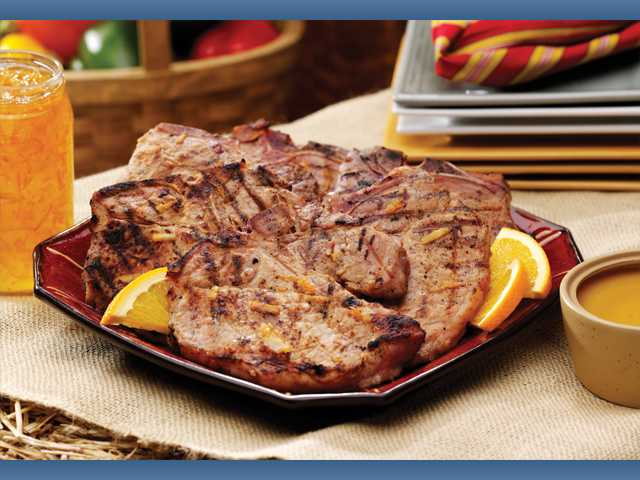 Orange grilled pork with honey-mustard dip